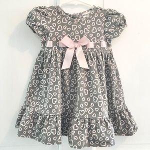 BABY savannah Gray & Pink Hearts Dress SIZE 12M